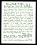 1934 Diamond Stars Reprints #6  Max Bishop  Back Thumbnail