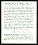 1934 Diamond Stars Reprints #71  Ossie Bluege  Back Thumbnail