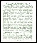 1934 Diamond Stars Reprints #5  Tommy Bridges  Back Thumbnail