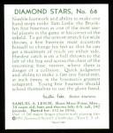 1934 Diamond Stars Reprints #68  Sam Leslie  Back Thumbnail