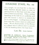 1934 Diamond Stars Reprints #49  Buck Jordan  Back Thumbnail