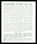 1934 Diamond Stars Reprints #106  Red Lucas  Back Thumbnail