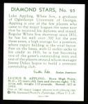 1934 Diamond Stars Reprints #95  Luke Appling  Back Thumbnail