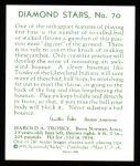 1934 Diamond Stars Reprints #70  Hal Trosky  Back Thumbnail