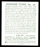 1934 Diamond Stars Reprints #46  Red Lucas  Back Thumbnail