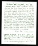 1934 Diamond Stars Reprints #22  Jimmy Wilson  Back Thumbnail