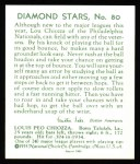 1934 Diamond Stars Reprints #80  Louis Chiozza  Back Thumbnail