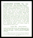 1934 Diamond Stars Reprints #102  Van Mungo  Back Thumbnail