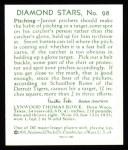 1934 Diamond Stars Reprints #98  Schoolboy Rowe  Back Thumbnail