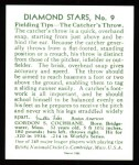 1934 Diamond Stars Reprints #9  Mickey Cochrane  Back Thumbnail