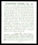 1934 Diamond Stars Reprints #65  Zeke Bonura  Back Thumbnail