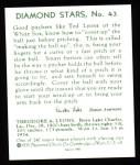 1934 Diamond Stars Reprints #43  Ted Lyons  Back Thumbnail