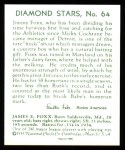 1934 Diamond Stars Reprints #64  Jimmie Foxx  Back Thumbnail