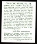 1934 Diamond Stars Reprints #14  Bill Terry  Back Thumbnail