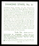 1934 Diamond Stars Reprints #61  Billie Werber  Back Thumbnail