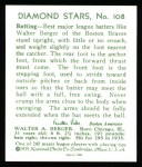 1934 Diamond Stars Reprints #108  Walter Berger  Back Thumbnail