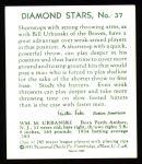 1934 Diamond Stars Reprints #37  Billie Urbanski  Back Thumbnail