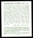 1934 Diamond Stars Reprints #74  Tony Lazzeri  Back Thumbnail