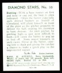 1934 Diamond Stars Reprints #35  Earle Averill  Back Thumbnail