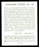 1934 Diamond Stars Reprints #58  Glenn Myatt  Back Thumbnail