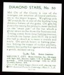 1934 Diamond Stars Reprints #50  Mel Ott  Back Thumbnail