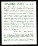 1934 Diamond Stars Reprints #45  Jo Jo White  Back Thumbnail