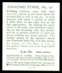 1934 Diamond Stars Reprints #97  Al Lopez  Back Thumbnail