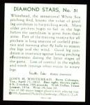 1934 Diamond Stars Reprints #51  John Whitehead  Back Thumbnail