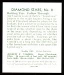 1934 Diamond Stars Reprints #8  Joe Vosmik  Back Thumbnail