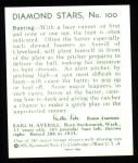 1934 Diamond Stars Reprints #100  Earle Averill  Back Thumbnail