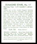 1934 Diamond Stars Reprints #17  Frankie Frisch  Back Thumbnail