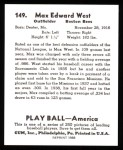 1939 Play Ball Reprints #149  Max West  Back Thumbnail