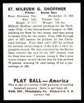 1939 Play Ball Reprints #87  Milburn Shoffner  Back Thumbnail