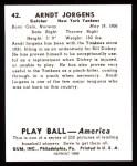1939 Play Ball Reprints #42  Arndt Jorgens  Back Thumbnail