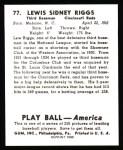 1939 Play Ball Reprints #77  Lew Riggs  Back Thumbnail
