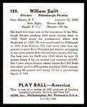 1939 Play Ball Reprints #129  Bill Swift  Back Thumbnail