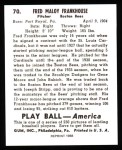 1939 Play Ball Reprints #70  Fred Frankhouse  Back Thumbnail