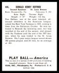 1939 Play Ball Reprints #44  Don Heffner  Back Thumbnail