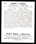 1939 Play Ball Reprints #61  Tony Cuccinello  Back Thumbnail