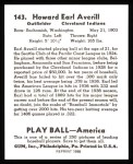 1939 Play Ball Reprints #143  Earl Averill  Back Thumbnail