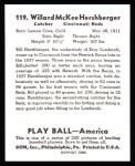 1939 Play Ball Reprints #119  Will Hershberger  Back Thumbnail