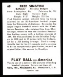 1939 Play Ball Reprints #68  Fred Sington  Back Thumbnail