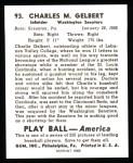 1939 Play Ball Reprints #93  Charles Gelbert  Back Thumbnail