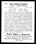 1939 Play Ball Reprints #111  Van Lingle Mungo  Back Thumbnail