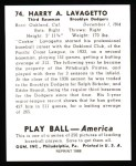 1939 Play Ball Reprints #74  Cookie Lavagetto  Back Thumbnail
