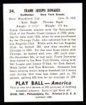 1939 Play Ball Reprints #34  Frank Demaree  Back Thumbnail