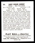 1939 Play Ball Reprints #54  Harry Gumpert  Back Thumbnail