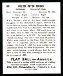 1939 Play Ball Reprints #99  Wally Berger  Back Thumbnail