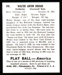 1939 Play Ball Reprints #99  Wally Berger  Back Thumbnail