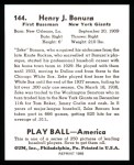 1939 Play Ball Reprints #144  Zeke Bonura  Back Thumbnail